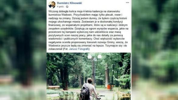 Burmistrz Klinowski żegna się z Wadowicami. Zakończenie jak w westernie......