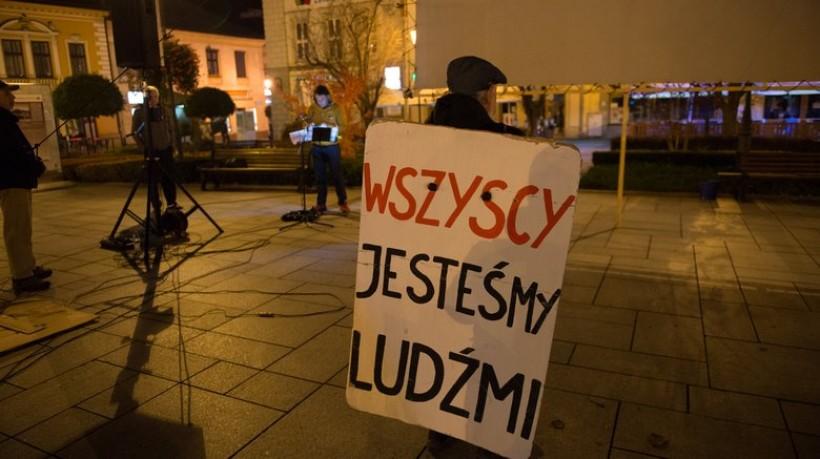 Protest KOD Małopolska w Wadowicach w 2017 roku