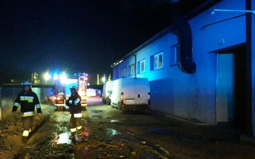 Pożar w fabryce wafli w Wadowicach