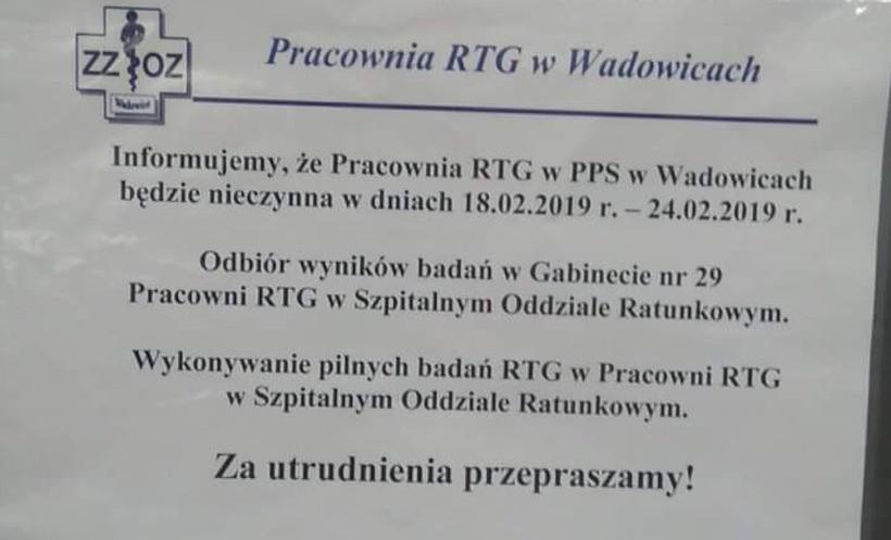Ogłoszenie w Wadowicach