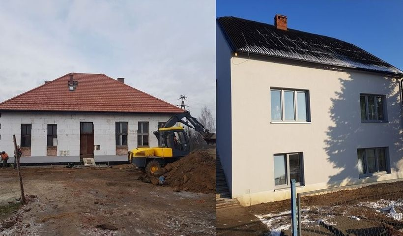 Remont starej szkoły w Łączanach, o domu w Wyźrale