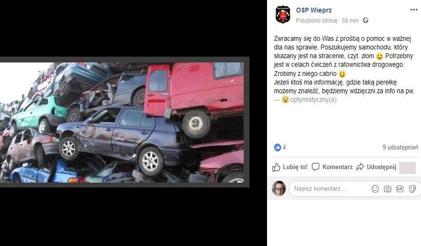 Strażacy z Wieprza mają prośbę