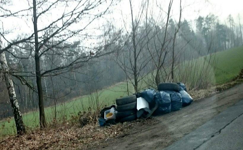 Śmieci przy drodze w Zebrzydowicach