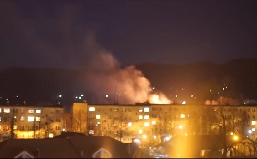 Pożar traw w Andrychowie widać było z daleka