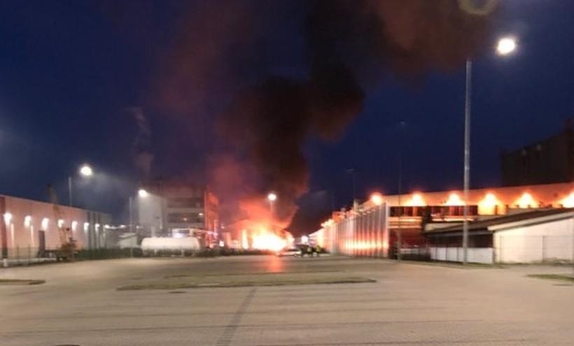 Pożar w papierni w Wadowicach