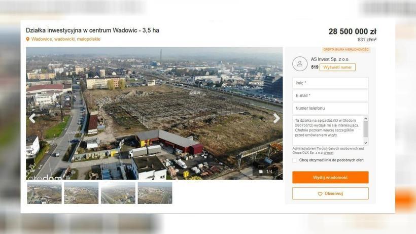 Słynna działka w Wadowicach wystawiona na sprzedaż. Cena robi wrażenie?