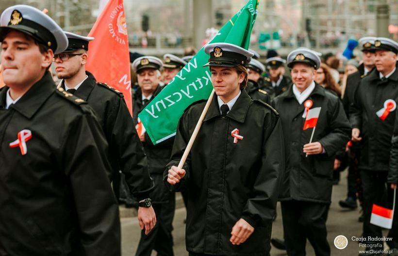 Jakub Burzyński podczas Gdyńskiej Parady Niepodległości