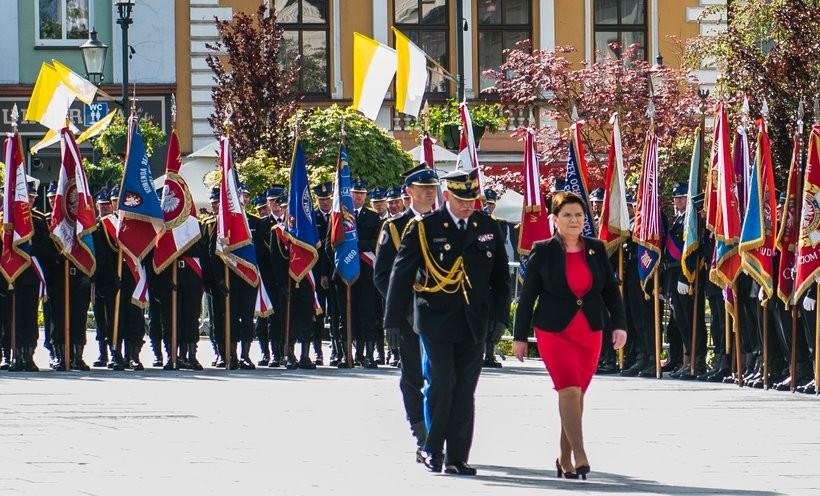 Do strażaków na święto w Wadowicach przyjechała wicepremier Beata Szydło i zastępca komendanta głównego Marek Jasiński