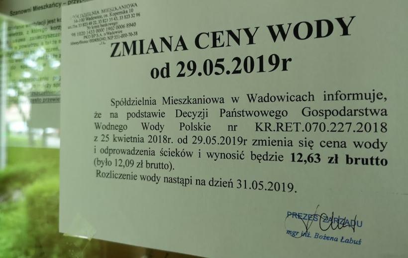 Komunikat Spółdzielni Mieszkaniowej w Wadowicach