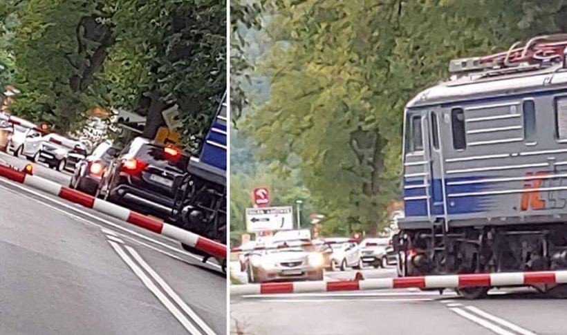 Taka sytuacja na przejeździe kolejowym