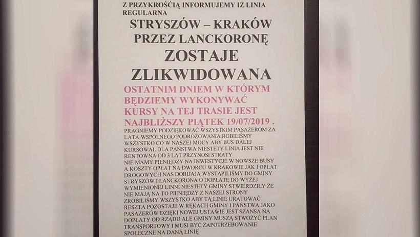 """Bus ze Stryszowa i Lanckorony nie dojedzie już do Krakowa. """"Od trzech lat przynosi straty"""""""
