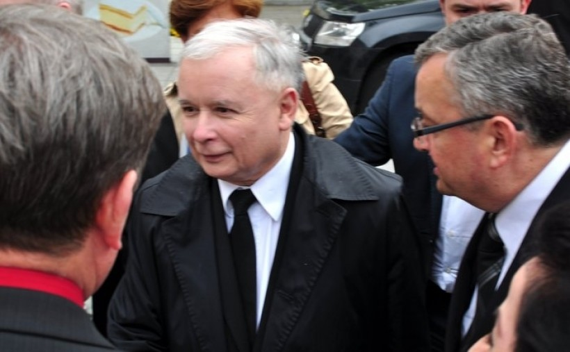 Jarosław Kaczyński w Wadowicach w kwietniu 2014 r.