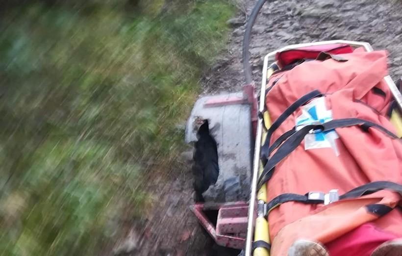 Ratownicy GOPR zwieźliz góry ciało zmarłego