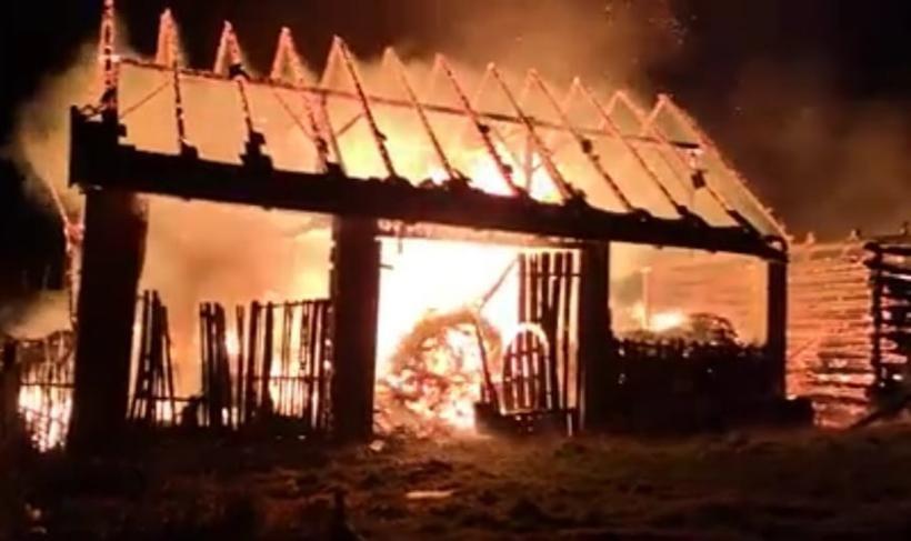Pożar stodoły w Choczni