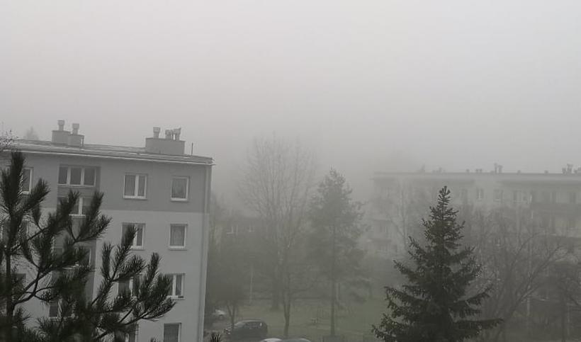 Gęsta mgła nad Wadowicami