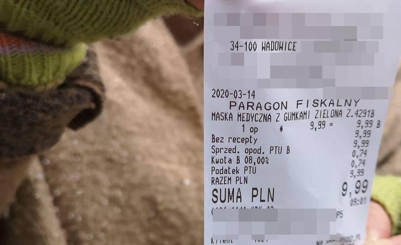 Cena maseczki medycznej w wadowickiej aptece 14 marca