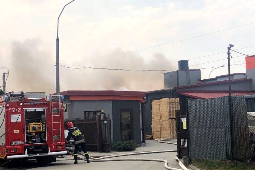 Pożar w fabryce palet w Wadowicach