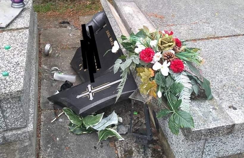 Zniszczony pomnik na cemntarzu w Wysokiej