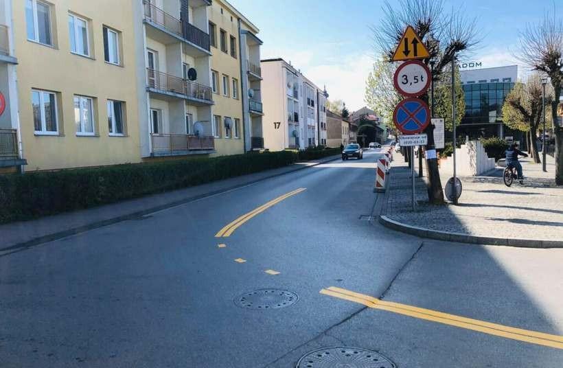 Tymczasowy objazd ulicy Siekiewicza w Wadowicach