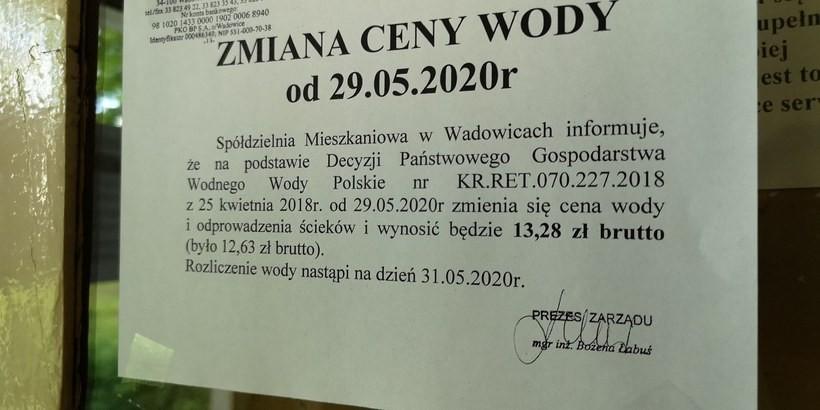 Zmiana ceny wody i ścieków w Wadowicach bez efektu koronawirusa