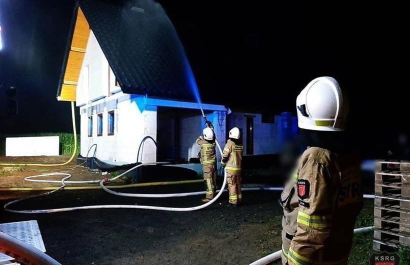 Pożar domu w Zatorze