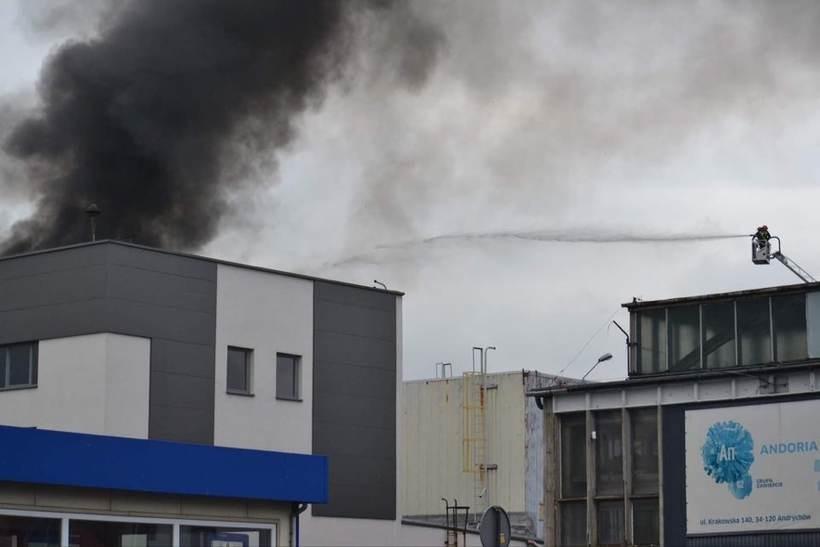 Pożar hali w Andrychowie