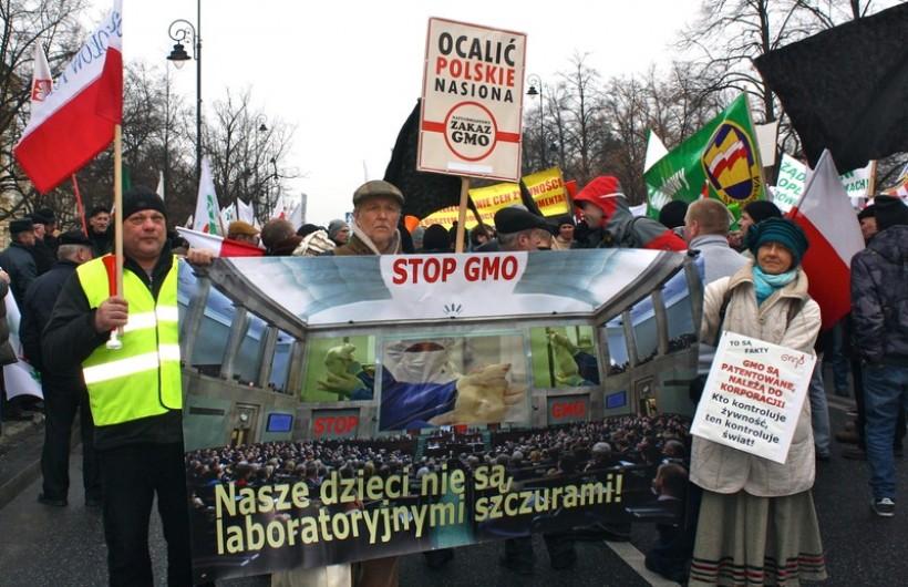 Ekolodzy ze Stryszowa protestują razem z rolnikami