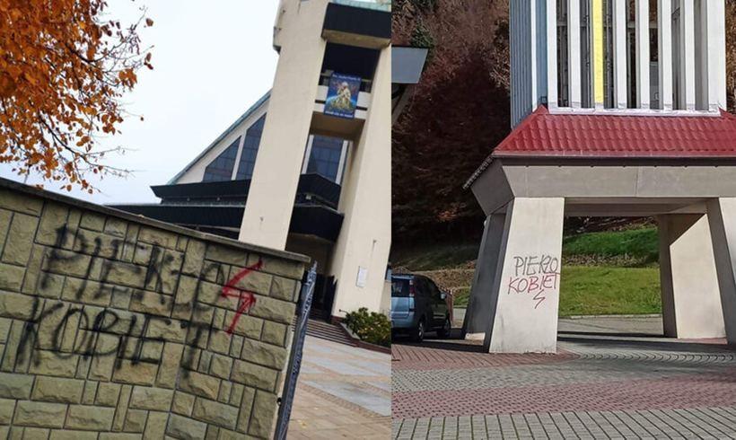 Ktoś wymalował hasła na kościele w Andrychowie. To tak ma wyglądać ten strajk?