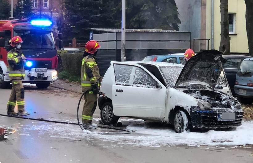 Pożar auta w Wadowicach