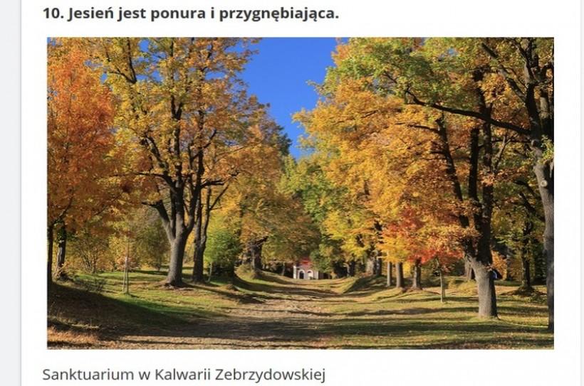 """Argumentem """"za"""", na przekornie postawioną tezę o tym że Polska jest """"obrzydliwa"""", są dla portalu Popularnie.pl, widoki jesieni na terenach sanktuarium w Kalwarii"""