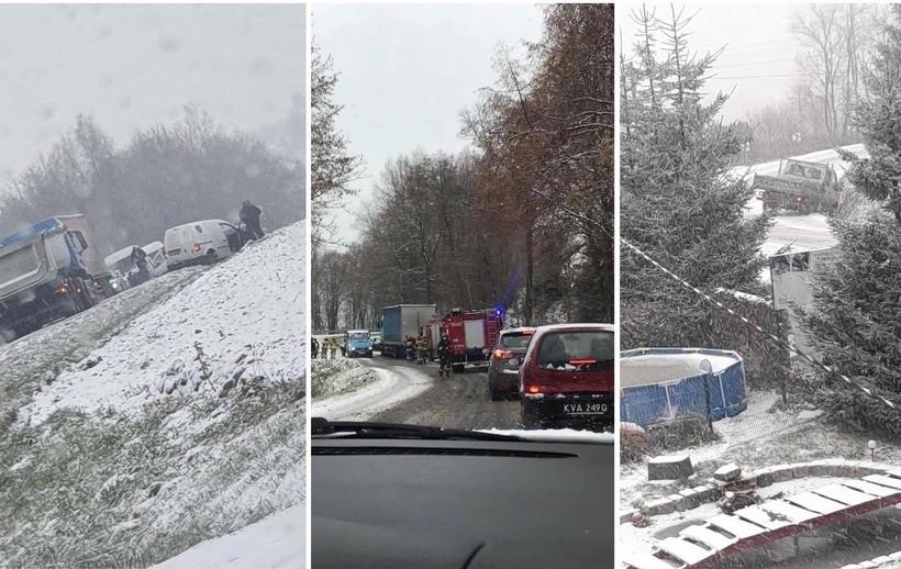 Śnieg paraliżuje jazdę na lokalnych drogach, są pierwsze wypadki