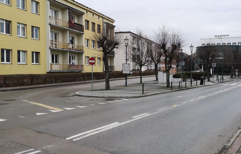 Wjazd na osiedle Obrońców Westerplatte w Wadowicach