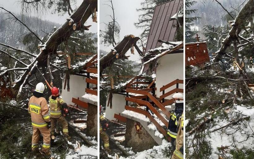 Śnieg ciągle niebezpieczny w górskich miejscowościach. Drzewo spadło na taras