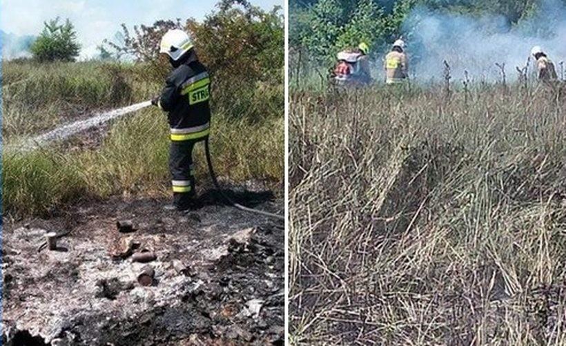 Ogień pojawił się na stercie śmieci przy cmentarzu. Zajęły się nieużytki