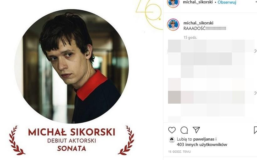 Wadowicki akcent na festiwalu filmowym w Gdyni. Michał z nagrodą za profesjonalny debiut!