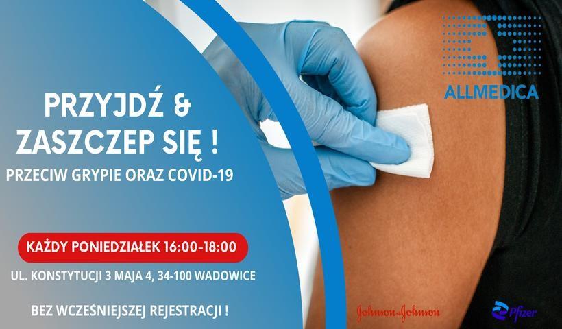 Szczepienia trzecią dawką przeciw Covid i szczepienia przeciw grypie w Allmedica