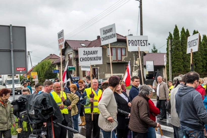 Protest na drodze krajowej w Jaskowicach