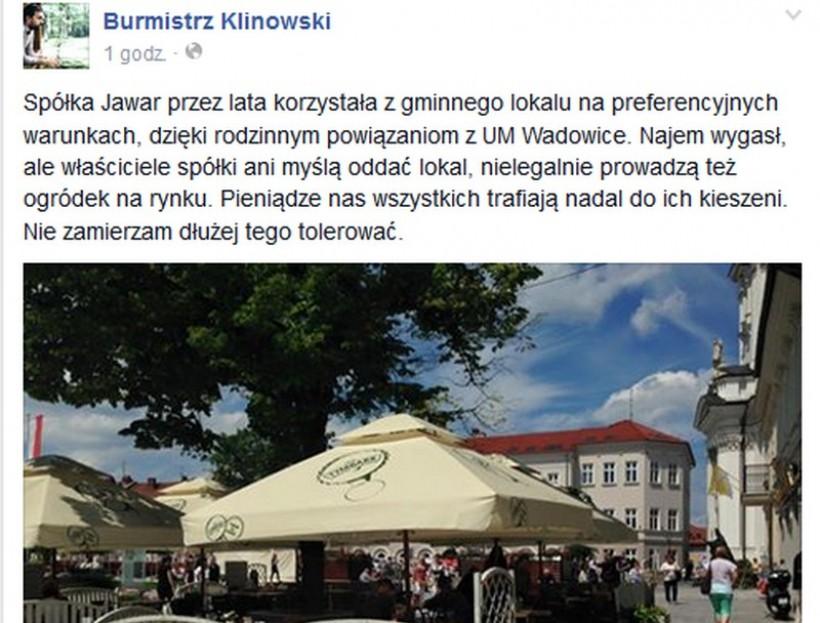 Wpis burmistrza na Facebooku wywołał burzę