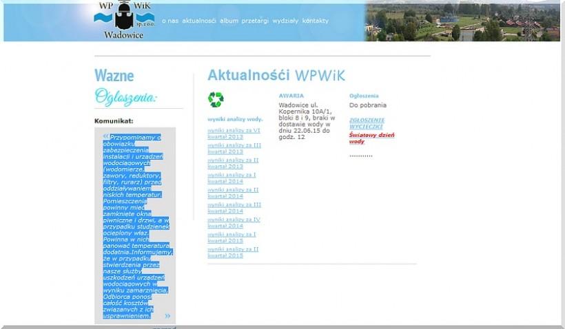 Pilny komunikat zarządu na stronie WPWiK