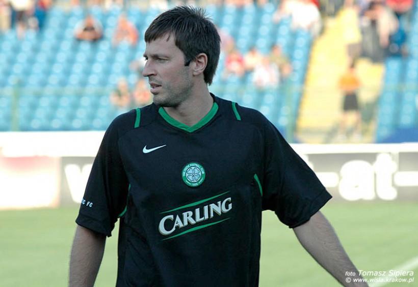 Maciej Żurawski w barwach Celticu podczas sparingu z Wisłą Kraków w 2006 rou