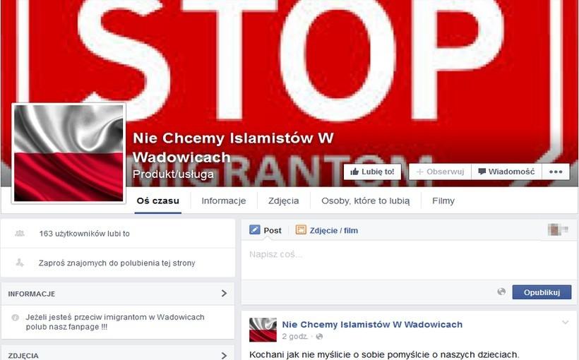 """Taka akcja na Facebooku: """"Nie chcemy islamistów w Wadowicach"""""""