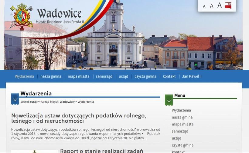 Obecna witryna internetowa Wadowic