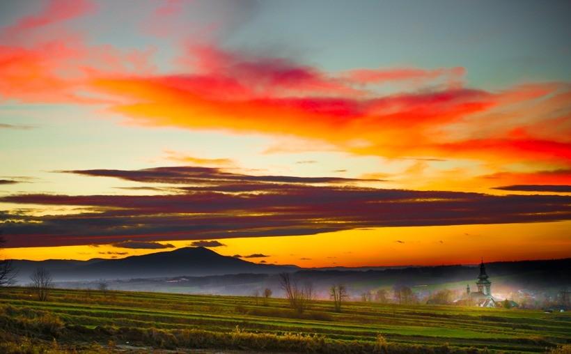 Panorama Wieprza o zachodzie słońca