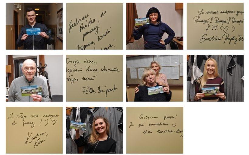 Aktorzy Teatru Słowackiego w Krakowie wspierają budowę Centrum Edukacyjno - Rehabilitacyjno - Terapeutycznego, kupując specjalne cegiełki