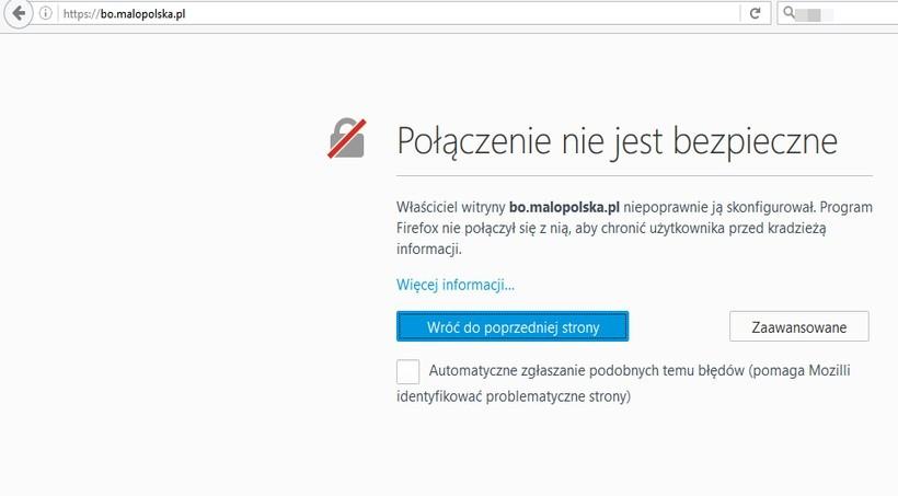Taki komunikat zwraca przeglądarka, po przejściu na stronę bo.malopolska.pl, gdzie teoretycznie odbywa się głosowanie
