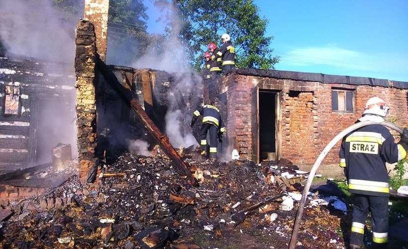 Pożar domu w Inwałdzie