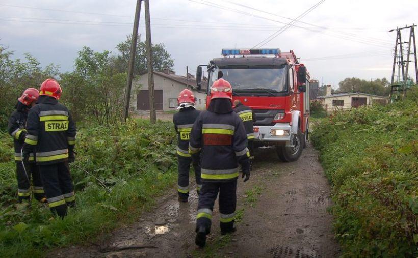 W Woźnikach samochód wypadł z drogi. Na miejsce zdarzenia wezwano straż pożarną