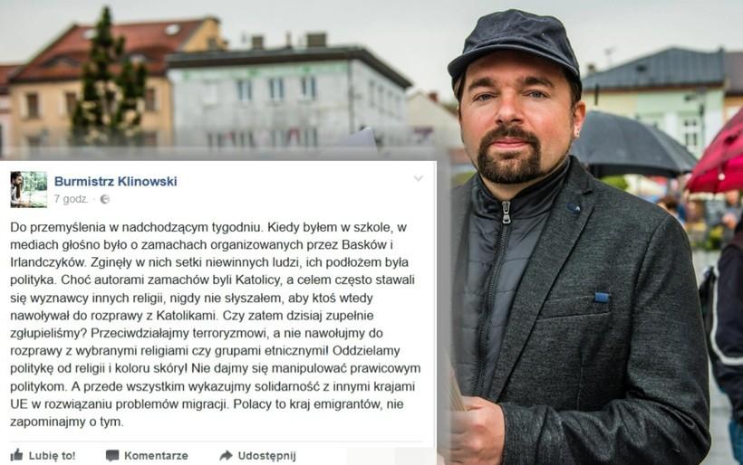Mateusz Klinowski poucza na Facebooku