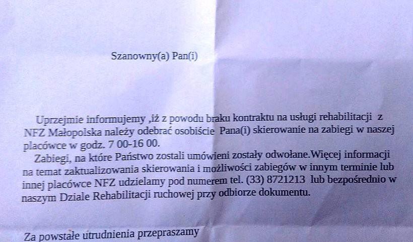 W październiku szpital z Wadowic wysyła listy do pacjentów