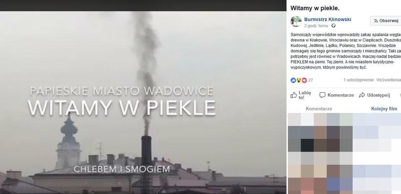 Wpis burmistrza Wadowic ukazał się na facebooku w środę